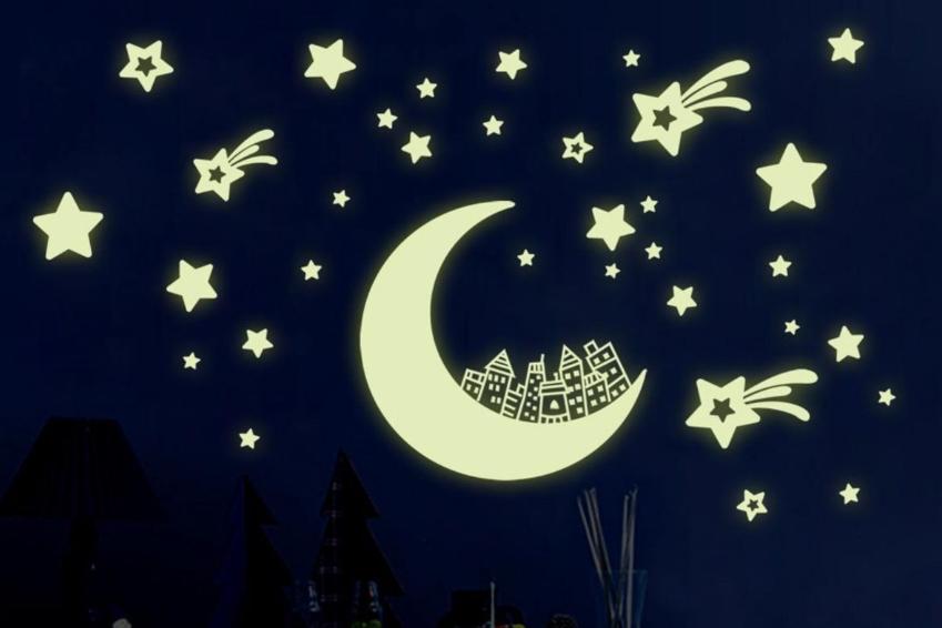 Wandtattoo nachtleuchtend Fische Meerestiere Ozean bunt Night Glow Leuchtsticker
